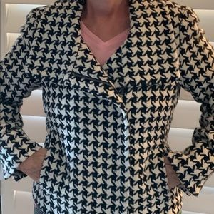 Talbots houndstooth jacket side zip size
